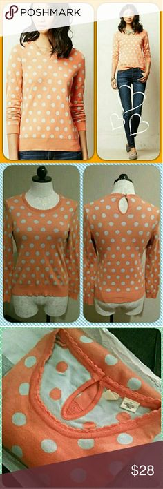 """⭐LOWEST⭐Anthropologie✨Moth Polka Dot Sweater Gorgeously woven silk, modal, and cotton; this sweater wraps itself around you and it's light on the body. Fastens at the neck with a cute button! Steam-cleaned! Jazz up with jewelry or nice jeans! I bought multiple because I loved them so much.  """"When creature comforts are this charming, who can resist? Moth's cozy apricot pullover caught our eye with its playful polka dots""""  By Moth Pullover styling Cotton, polyester, modal, silk Hand wash…"""