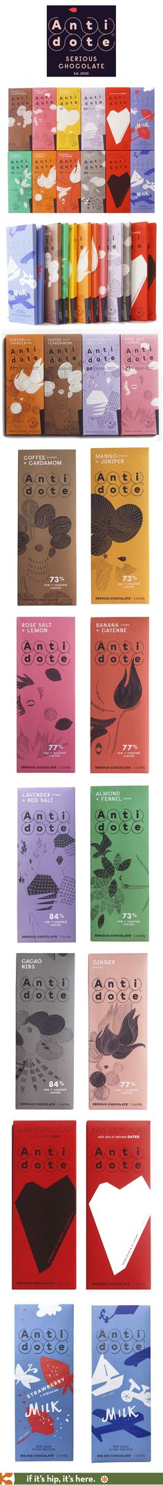 All the nicely designed wrappers for Antidote Chocolate Bars