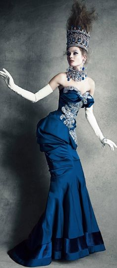 john galliano, christians, fantasy fashion, blue, christian dior, dress, haut coutur, patrick demarchelier, haute couture