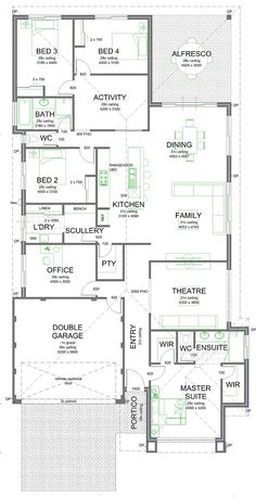 Find a way to swap the garage with the main bedroom and make the varanda at the back. Best House Plans, Dream House Plans, House Floor Plans, Home Design Floor Plans, Plan Design, Painted Brick Exteriors, Sims House, Story House, House Layouts