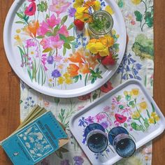 """Bluebellgray on Instagram: """"Fresh summer stock 🌸 Two beautiful new trays featuring our design du jour, Isolation Garden. The round tray features the full riotous mix…"""" Bluebellgray, Round Tray, Trays, Fresh, Garden, Summer, Beautiful, Instagram, Design"""