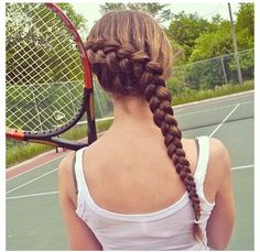 braided sport hair love her hair and her sport! Athletic Hairstyles, Sporty Hairstyles, Braided Hairstyles, Cool Hairstyles, Updo Hairstyle, Braided Updo, Wedding Hairstyles, Goddess Hairstyles, Princess Hairstyles