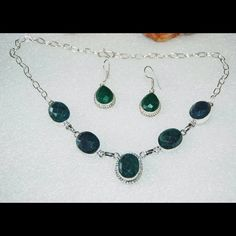 """✂️DROP✂️Dark Green Onyx Necklace & Earrings Set Earrings:2"""" long,Necklace:18"""" long.set on 925 silver ov copper.clasp stamped 925.Please note the photos are enlarge slightly for your convenience so make sure to notice the actual measurements of the item on the """"product description"""" as it maybe smaller than the representing photo. Colors of the stone also may be slightly vary than the pictures due to light.These are all handmade items in my closet so please do not expect perfection. Thank you…"""