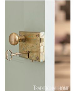 New brass rim locks from Baldwin, distressed to look old, replaced hardware throughout this cool Greenwich Village apartment. Home Hardware, Barn Door Hardware, Barn Doors, Antique Door Hardware, Baldwin Door Hardware, Antique Doors, Cabinet Hardware, Front Doors, Door Knobs