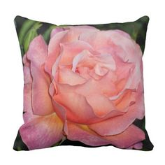 16 x16 Cotton Pink and Peach Rose Throw Pillow http://www.zazzle.com/natureartphotos*