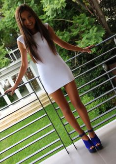 white dress and blue shoes!