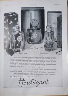 Original Vintage French Ad Houbigant Parfum 1937 Plaisance, Floraison, Demi-jour by reveriefrance on Etsy