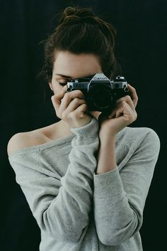 Woman, female, behind camera, photography, analogue, Canon, photograph, photo