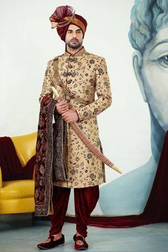 Golden colour Wedding Sherwani/wedding sherwani for groom/indian Groom dress Sherwani For Men Wedding, Wedding Dresses Men Indian, Groom Wedding Dress, Sherwani Groom, Wedding Men, Mens Sherwani, Punjabi Wedding, Wedding Couples, Indian Weddings