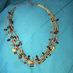 Necklace and Earrings ⬇️ Reduced ⬇️ Gorgeous necklace and earrings. Amber colored. Dress up any outfit with this set. Pre-Loved Jewelry Necklaces