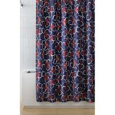 Dvf Diane Von Furstenberg Dancing Garlands Fabric Shower Curtain Navy White  Red   Shower Curtains