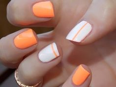 Orange and white gel nails