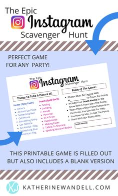 Have You Played The Epic Instagram Scavenger Hunt Game??? (Free Printable Checklist) - Katherine Wandell