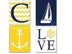Navy Yellow Nursery Nautical Nursery Decor by NauticalDecorShop, $28.00