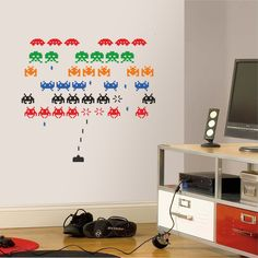 Space Invaders - Wall Decal Art Sticker lounge living room bedroom hall (Small)