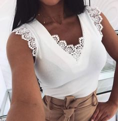 Fashion Women Sleeveless Shirt Casual Lace Blouse Loose Tops Shirt Ladies Backless Lace Up Blouse Summer Top Trend Fashion, Womens Fashion, Lace Vest, Loose Tops, V Neck Tops, Ideias Fashion, Clothes For Women, Ladies Tops, Sleeveless Shirt