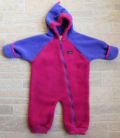 d7a20efac LL Bean Pink Magenta Blue Fleece Bunting Snowsuit Girls 18 Months Zip Front  Hood #LLBean