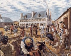 Scene of daily life at Fort Beauséjour, around 1753