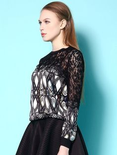 Black Round Neck Long Sleeve Printed Lace Shirt $32.00.Click for more.