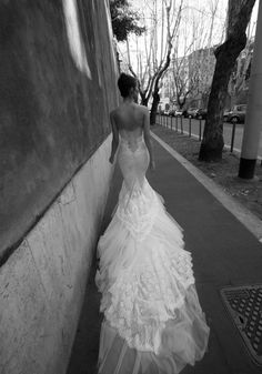 WOW backless frills lace wedding dresses via Jasmine V world