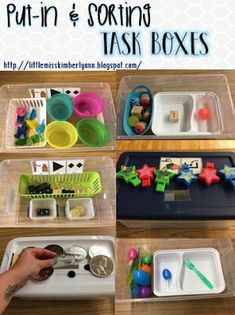 put-in and sorting task boxes / work boxes / independent work