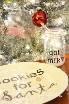 Cookies for Santa plate and milk jar, so cute or you can make a snowman too :)