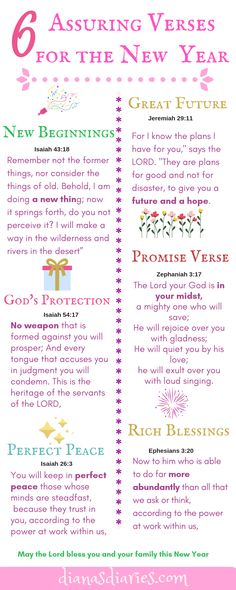 As we enter the New Year let us surround ourselves with great hope and faith to sustain us. Here are 6 assuring Bible verses and daily prayer for New Year New Year Verses, New Year Bible Verse, Quotes About New Year, Bible Scriptures, Year Quotes, New Years Prayer, Daily Prayer, Prayer For New Beginnings, Perfect Peace