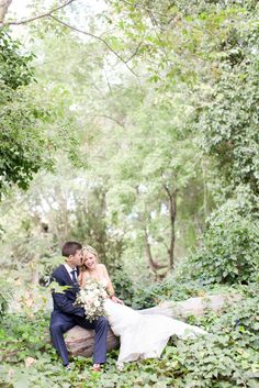 sweet forest bride and groom wedding portriat