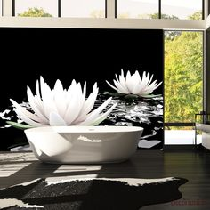 Papier Peint Water Lilies On The Abstract Surface - Taille : cm Solid Surface, Surface 2, Water Lilies, Decoration, Lily, Abstract, Wallpaper, Urban, Products