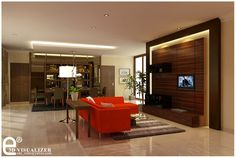 White Round Floor Lamp And Red Sectional Sofa With White Cushions Plus Recessed Lighting In Cozy Living Room