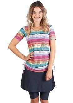 3d7d48186d Ella Mae Modest Swimsuit for Women with Short Sleeve Swim Shirt and Swim  Skirt with Knee Length Swim Capri Leggings (S-XXXL)