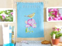 Green Bird And Magnolia PDF cross stitch pattern / instant download; pattern finish picture available