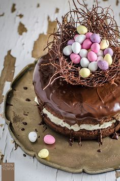 Chocolate Easter Egg Nest Cake | Chew Town Food Blog
