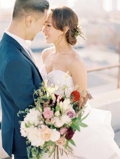 Blissful Downtown LA bride and groom: http://www.stylemepretty.com/california-weddings/los-angeles/2015/12/09/whimsical-downtown-los-angeles-wedding-2/ | Photography: Valentina Glidden - http://blog.valentinaglidden.com/