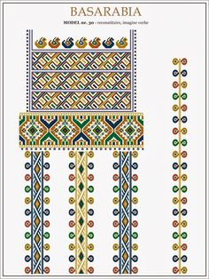 traditional Romanian pattern - north of Bessarabia Romanian Lace, Embroidery Motifs, Costume Patterns, Moldova, Beading Patterns, Cross Stitch Patterns, Tapestry, Traditional, Crafts