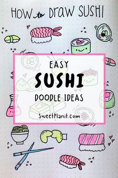 For Sushi Lovers! How to Draw Cute Sushi - Lots of ways to doodle sushi with step by step tutorials and ways to sushi in your bullet journal or planner! Kawaii Drawings, Doodle Drawings, Cute Drawings, Bullet Journal Font, Bullet Journal Hacks, Bullet Journals, Sushi Drawing, Planner Doodles, Bujo Doodles