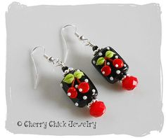 Very Cherry Lampwork Glass Beaded Earrings by CherryChick on Etsy, $36.00 #CherryChick #Cherries #CherryEarrings