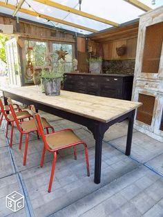 Ancienne table de refectoire 10 personnes 250cm 400€ LEBONCOIN