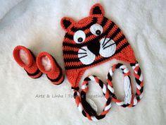 Conjunto de Crochê Tigre artelinharj@gmail.com 62 98146.4188