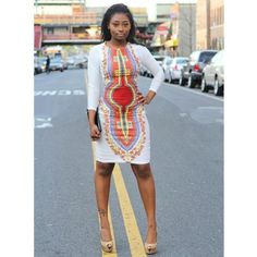 Autumn dashiki printed bodycon dress