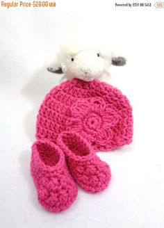 Newborn Pink Hat and Booties Home for the by crochetedbycharlene