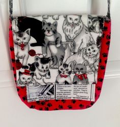 Kitty Cat Womens Girls Purse Handmade Black Red White Paw Prints 8X7in 20x19cm #Handmade #SmallShoulderBag