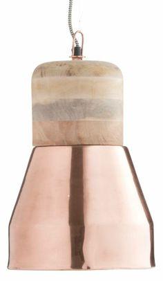 Madam Stoltz Hanglamp koper en hout Ø22x36cm