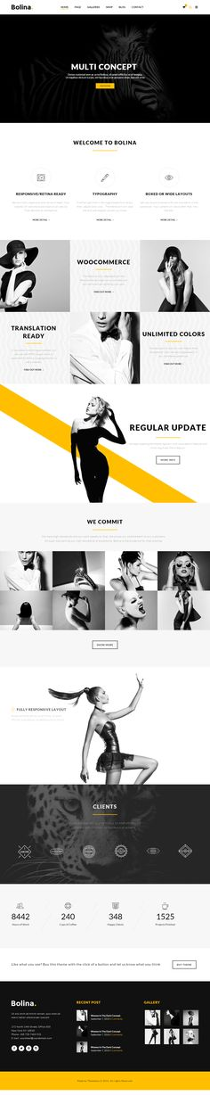 Bolina is a Trendy & Stylist WordPress Theme designed by minimal style which focus on 3 colors black, yellow and white.