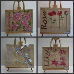 Favourite Flower Jute Bags. Have your or your loved ones favourite flower Hand painted, Glittered and Embellished onto a Jute Bag. Available in two sizes Large (33cm x 40cm) £25 inc P or Small (27cm x 30cm) for £20. A perfect Mother's or Valentines Day gift. Payment by PayPal www.lottylollipop.com  www.facebook.com/lottylollipop2007