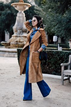 denim on denim outfit with camel coat