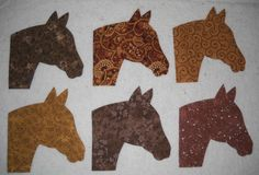 Set of 6 Brown Horse Head  IronOn Fabric by MarsyesQuiltBlocks, $9.95