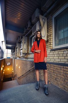 urban uniform #3 = uniform jacket in very red + uniform polo dress + industrial head shoes www.horseheadlabel.com Horse Head, Label, Industrial, Polo, Urban, Autumn, Red, Jackets, Shoes