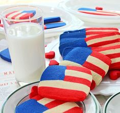 SugaryWinzy ~ Red White and Blue Flag Cookies