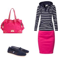"""Untitled #31"" by snookyjane97 on Polyvore don't like the style of the skirt but like the pink with navy blue"
